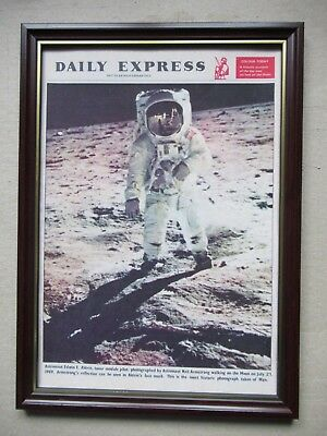 Daily Express 1969 souvenir man on the moon,50th birthday gift,A4,copy,framed.