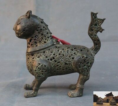 "7""Old Chinese bronze ware Lion beast statue ancient Hollow Incense burner Censer"