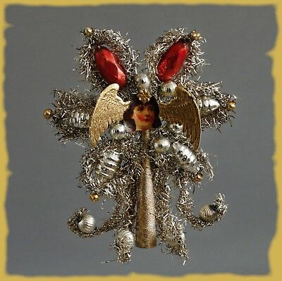 Victorian Vintage Christmas Ornament Tree Topper Tinsel Angel Paper Lithogr 1920