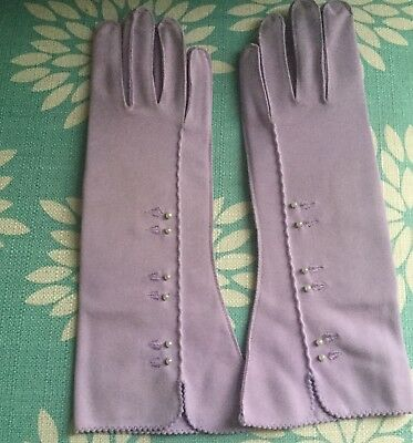 Vintage Woman's Lady Gay Lilac Gloves Seed Pearls New
