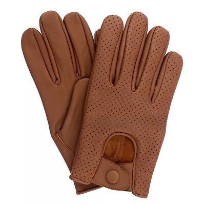 Men's Chauffeur  Real Lambskin Sheep Nappa Leather Driving Gloves -  Vented Tan