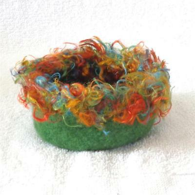 Botswana Deep Olive Green Felted Wool Bowl With Multi-Color Trim, 4 1/2 X 2 Inch