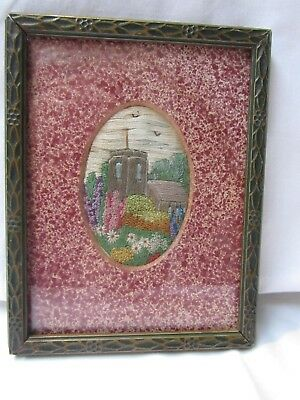 Lovely Antique Vintage Hand embroidery Cottage Garden Picture