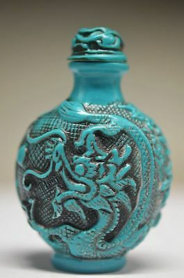 Exquisite Chinese Resin Hand Carved Dragon Phoenix Snuff Bottle Zrf