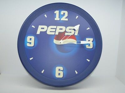 "Vintage 18"" Pepsi Cola Wall Clock Sign Large Blue Garage Shop Import Internation"