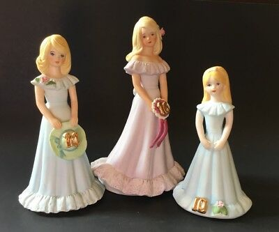 Lot 3 Growing Up Birthday Girls Blonde Ages 10 14 16 ENESCO Porcelain Figurine