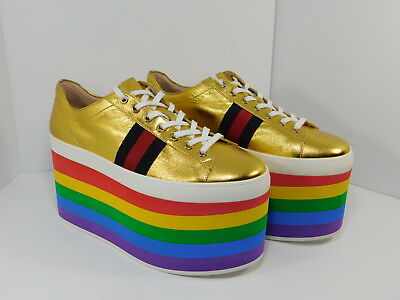 03016210f18 GUCCI Peggy Platform Sneaker Metallic Gold Leather Rainbow Shoes Size 39