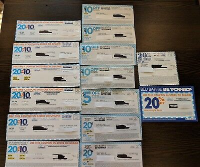Bed Bath & Beyond Lot of 15 Coupons $5 $10 OFF In Store Online 20% 10% OFF
