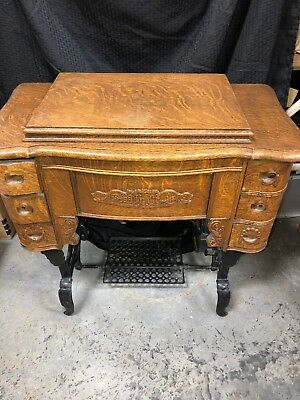 Antique White Treadle Sewing Machine Art Nouveau Oak Iron Cabinet,  See Shipping