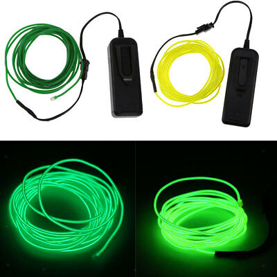 2Pcs 5M Green Neon Glowing Electroluminescent EL Wire Light with Controller