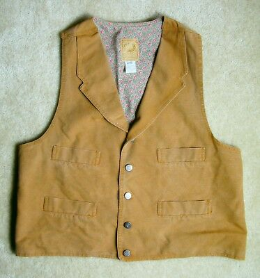Scully Wah Maker Canvas Trappers Vest Men's Size Large Old West SASS Made in USA