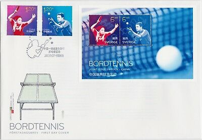 Table Tennis Ping Pong Sweden China 2013 Join Issue Waldner Lao Wa  S/s Fdc
