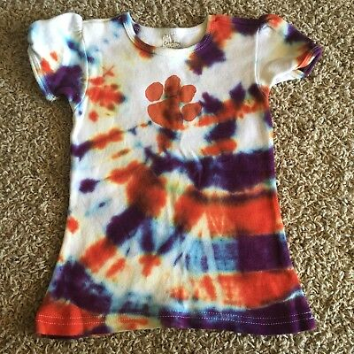 Clemson Togers Tie Dye Capped Sleeve Shirt 3T
