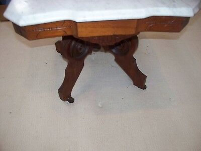 Vintage Antique Wood Table With Marble Top 24 X 28 X 28 1/2 Tall