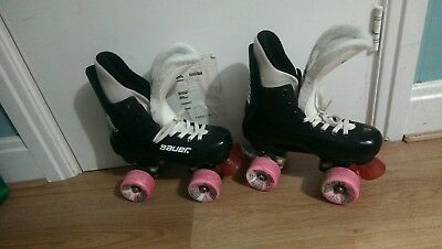 Vintage Bauer Turbo Quad Roller Boots Skates Size 4 jumbo air waves wheels