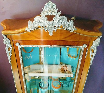 French Style Glass Bow Fronted Cabinet (Vernis Martin Ormolu)