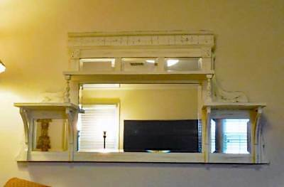 Antique chic Shabby Buffet / SERVER MANTLE MIRROR l &  Carvings