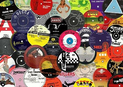 50 record label stickers. Punk, Oasis, Beatles, Bowie, Elvis, Queen, Sun, Dylan