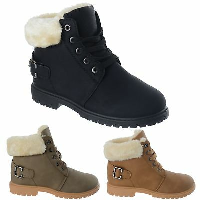 Childrens Girls Kids Lace Up Faux Fur Lined Warm Combat Ankle Boots Shoes Size