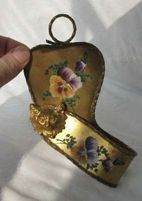 Victorian Cat Pansy Walking Cane Parasol Umbrella Holder Hand Painted Kitten