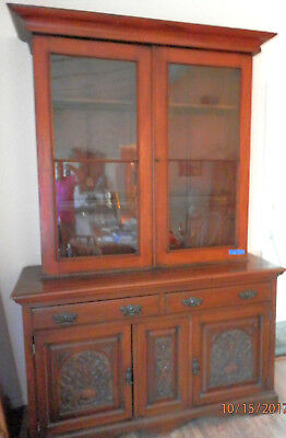 Antique Solid Walnut Hutch w/ carved doors and original glass...Exquisite!