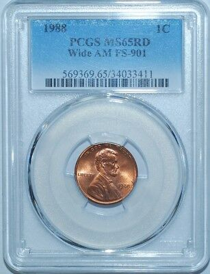 1988 PCGS MS65RD Red Wide AM FS-901 Lincoln Cent