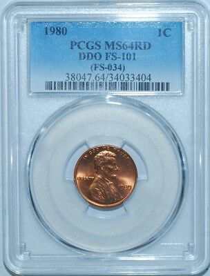 1980 PCGS MS64RD FS-101 Red DDO Double Doubled Die Obverse Lincoln Cent