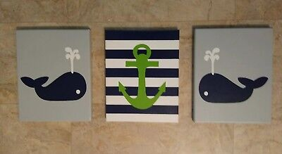 Custom Painted Baby Boy Wall Art - Nautical Decor - Anchor Navy Green Gray Whale