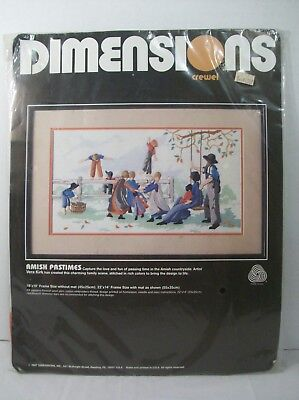 Dimensions Crewel Kit Amish Pastimes No. 1339 New Unopened Family Scene Playing