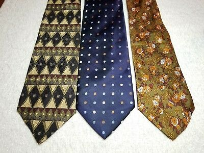 Lot of 3 Mens Italian All Silk Hand Made Embellished Neck Ties Multi-Colored