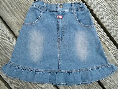 Girl's Long blue jean 2T modest ruffle frilly denim toddler country western cow