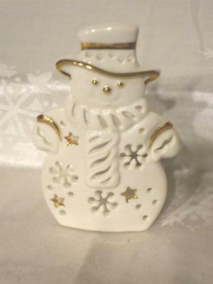 Lenox Snowman Tealight Candle Holder White And Gold