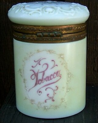 Wavecrest Art Glass Hinged Lid Covered Tobacco Jar w/ Floral Design