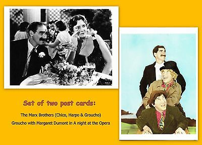 The MARX BROTHERS - Set of 2 NEW vintage post cards. Groucho, Harpo, Chico
