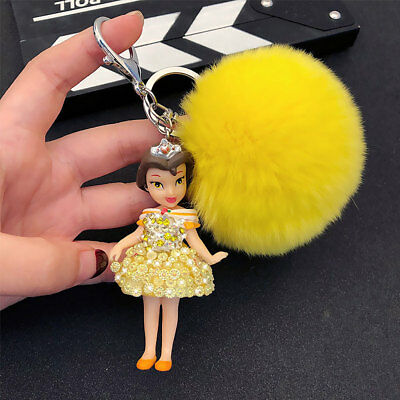 Keychain Belle Princess Dress Keyring Crystal Bling Rhinestone Fluffy Ball Gift
