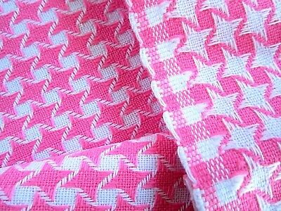 Vintage Pink Hounds tooth linen-like fabric