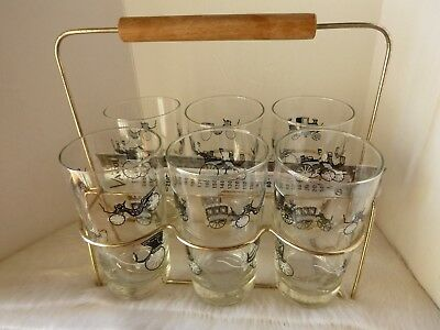 Mid Century Drinks Caddy Plus Vintage Car Glasses and Temp Vacola