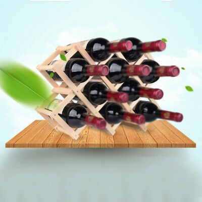 Wood Red Wine Rack 3 6 10 Bottle Storage Holder Mount Bar Display Shelf Folding