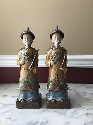 Pair Of Vintage Chinese Ceramic Statutes/ figurines, 13 inches tall