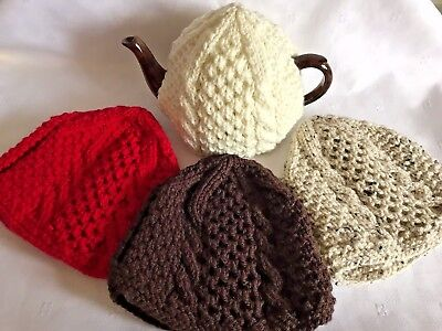 Hand Knitted Aran Tea Cosy In 11 Colours For Medium Pot (About 1 & 1/2 Pint)