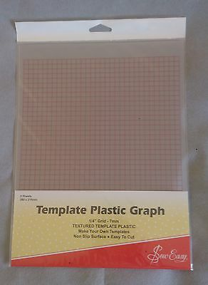 "Sew Easy Template Plastic Graph with 1/4"" grid (7mm) 2 sheets"