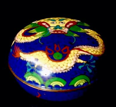 ANTIQUE CLOISSONE ENAMEL ROUND BOX TRINKET LID CHINESE DRAGON SNAKE c1900