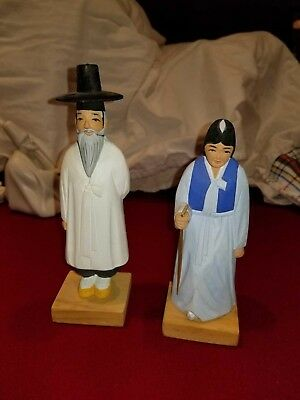 Hand made wooden elderly Korean couple figurines (made & purchased in Korea 70s)