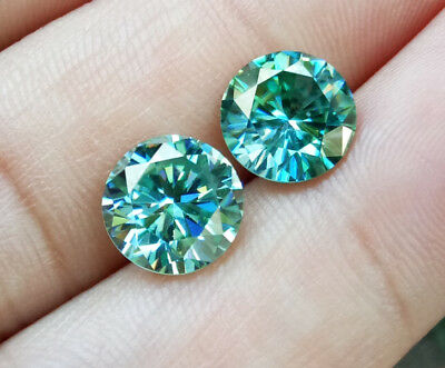 Pair! 9mm. 100% REAL BLUE MOISSANITE ROUND BRILLIANT CUT TOP Quality CLEAN!!