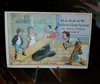 1880s Trade Blotter Card Barney Hatter & Gents Furnisher fifth ave new York city