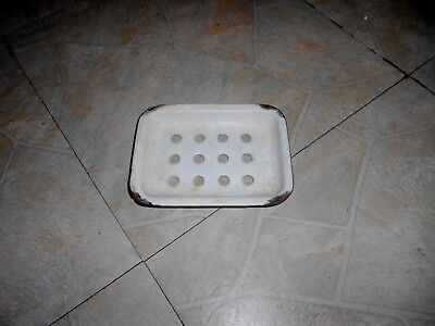Antique WHITE ENAMEL GRANITEWARE  SINK SOAP DISH HOLDER