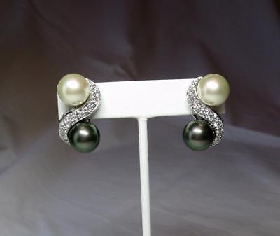 Nolan Miller Jackie Collins Estate Earrings Black Pearl Celebrity Jewelry Vintage & Antique Jewelry