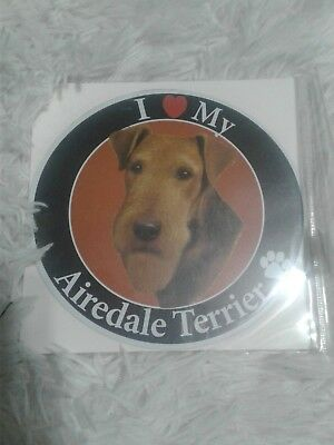 I Love My Airedale Terrier Magnet Dog Souvenir Refrigerator No Mess Cute Gift