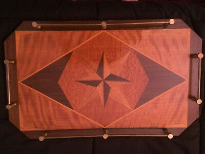 Vintage handmade wooden parquetry serving tray