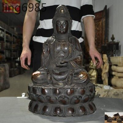 Old China Buddhism temple purple bronze Quan yin Kwan-yin Guan Yin Buddha statue